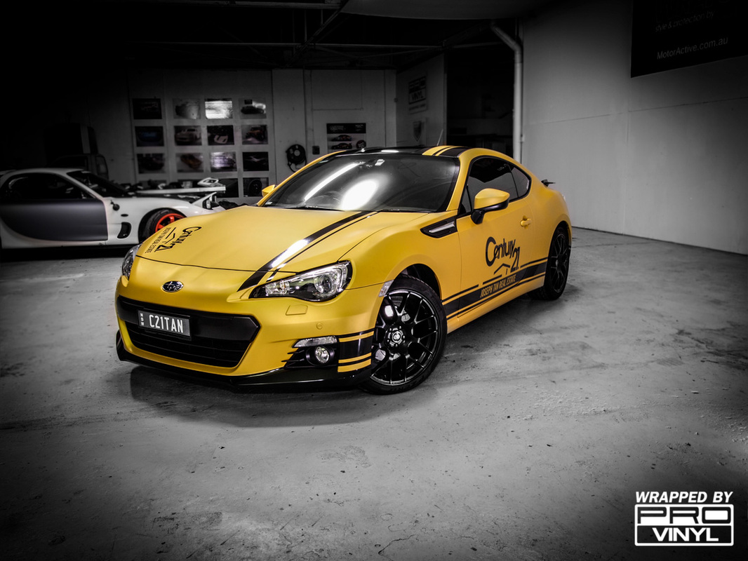 Subaru BRZ matte metallic yellow vinyl wrap