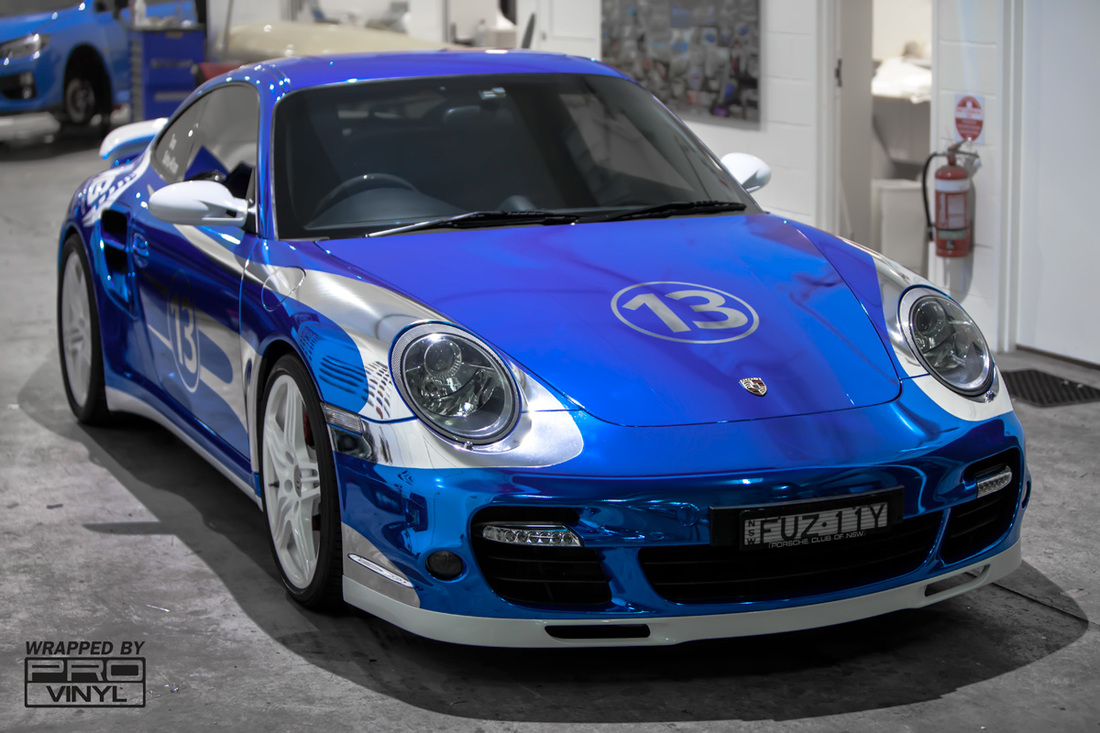Blue chrome Porsche sydney