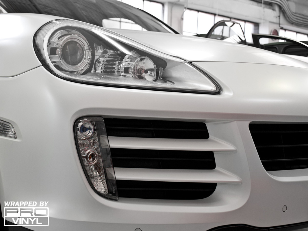 Full satin pearl white wrap for Porsche Cayenne