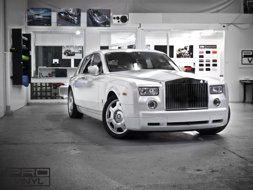 Rolls Royce Phantom in Gloss Pearl White vinyl | Sydney