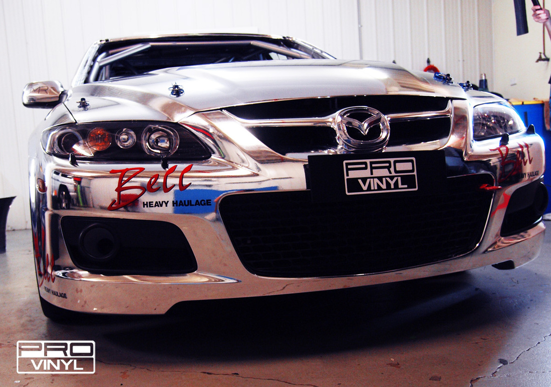 A full chrome wrap with signwriting for west end Mazda racing team