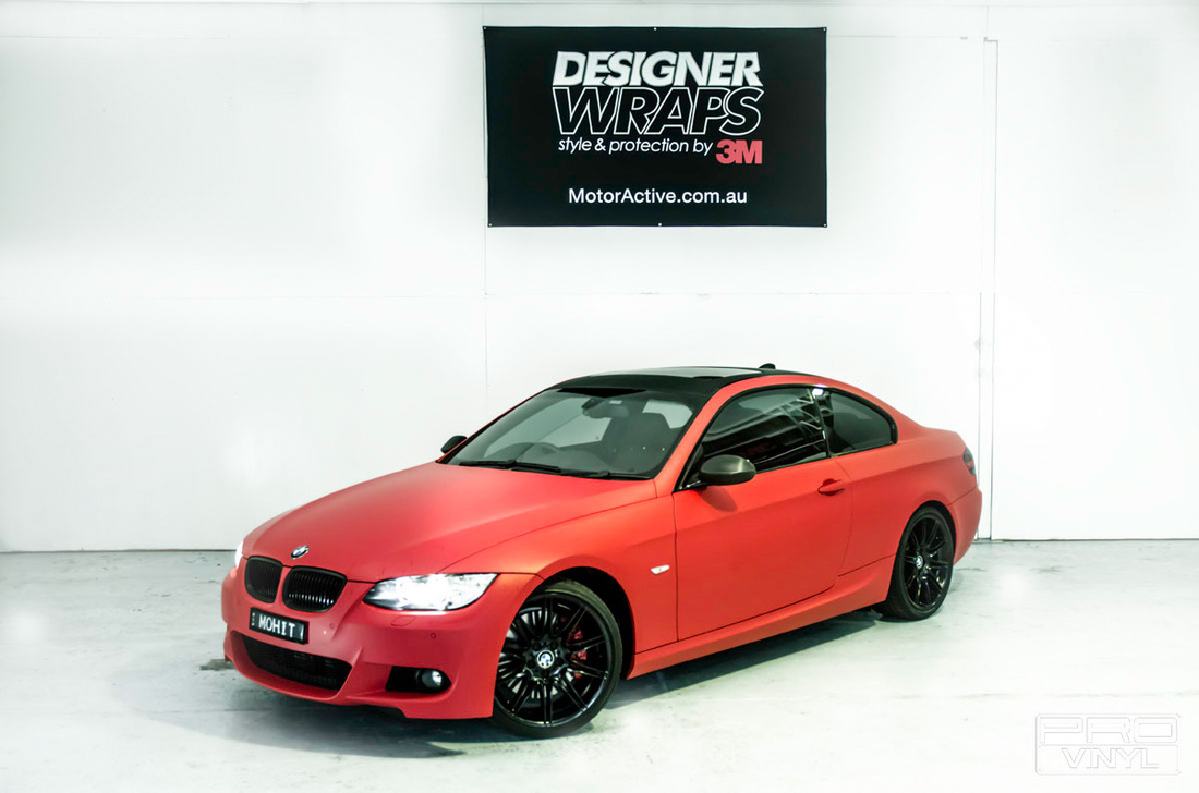 Full body wrap, a smouldering red BMW 3 Series coupe