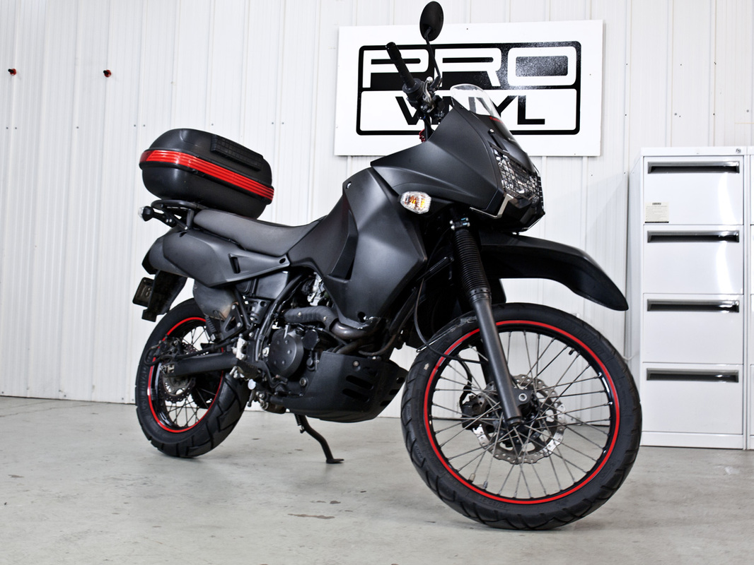 Full matte black wrap for Kawasaki